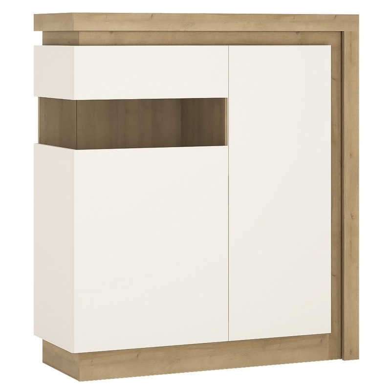 Darley 2 Door Designer Cabinet (LH) in light oak and white gloss, angle view