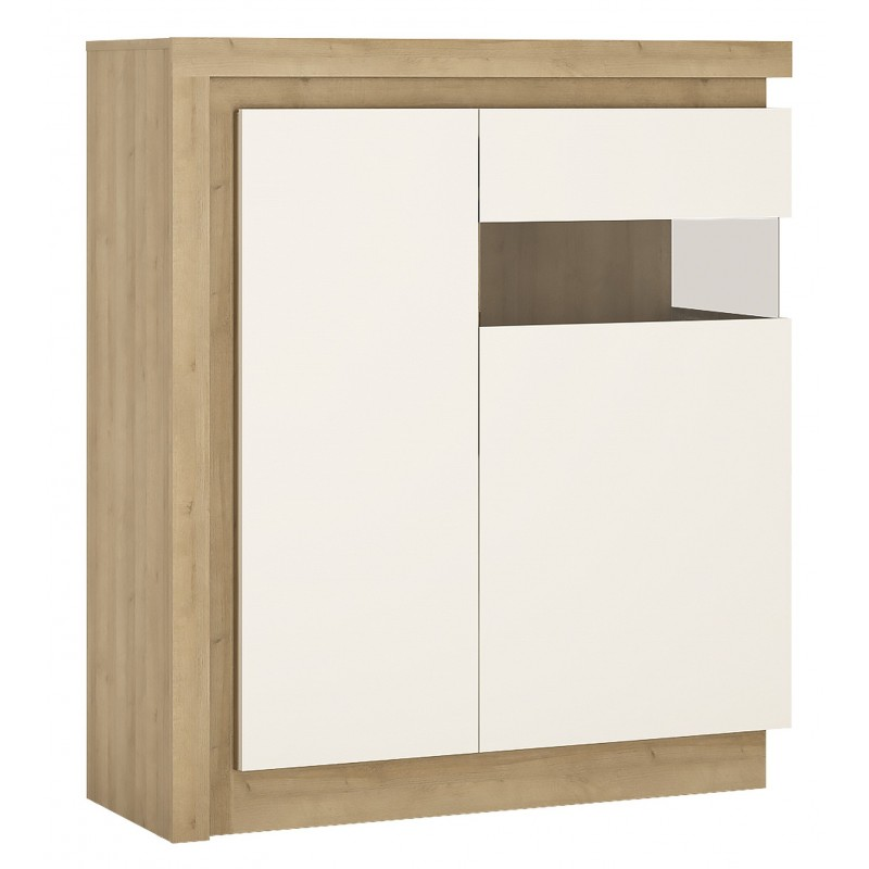 Darley 2 Door Designer Cabinet (RH) in light oak and white gloss, angle view