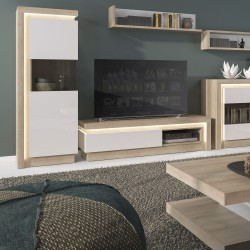 Darley 2 Door Designer Cabinet (RH) in light oak and white gloss, room shot 1
