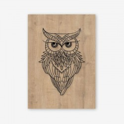 Owl Wooden Frame Close