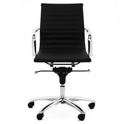 Austin Short Back Office Chair - Black Front View