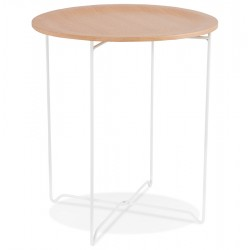 Mareano Round Side Table - White/ Natural