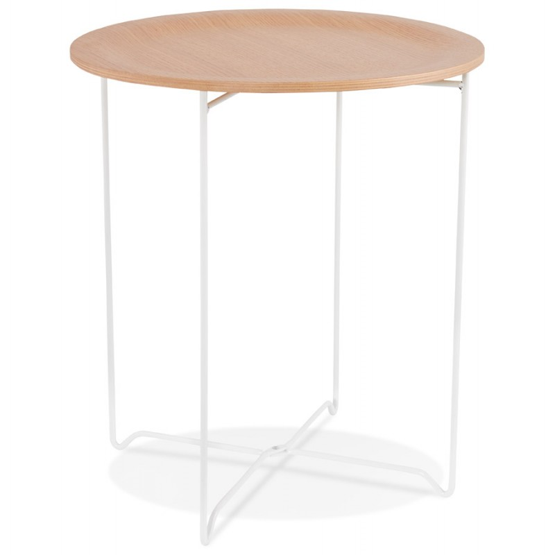 An image of Mareano Round Side Table - Natural Wood and White