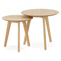 Cerchio  Nest of Two Tables - Natural Side View