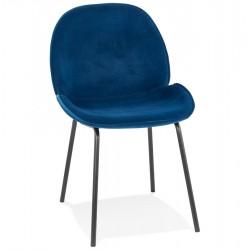 Agatha Blue Velvet Upholstered Dining Chair Black Legs