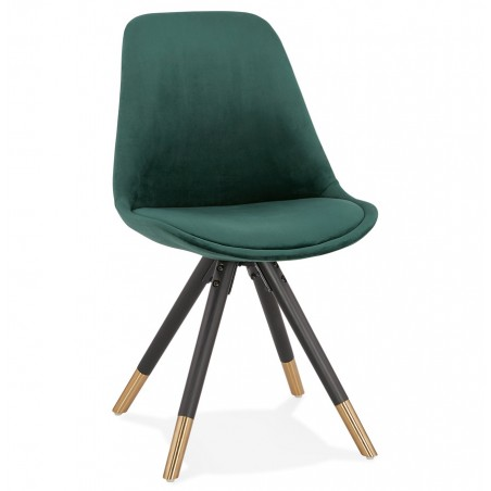 Eames Inspired - DSW Velvet Chair Black & Gold Pyramid Legs - Green