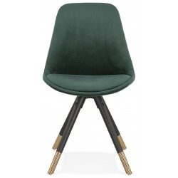 Eames Inspired - DSW Velvet Chair Black & Gold Pyramid Legs - Green Front View