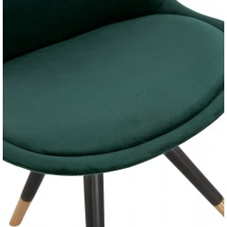 Eames Inspired - DSW Velvet Chair Black & Gold Pyramid Legs - Green Seat Detail