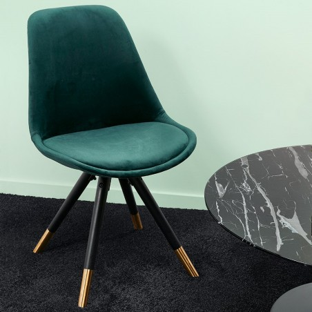 Eames Inspired - DSW Velvet Chair Black & Gold Pyramid Legs - Green Mood shot