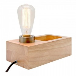 Industrial Wood Table Lamp