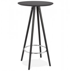 Debota Round Bar Height Table - Black /Black Side View