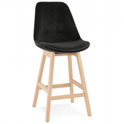 Eames Inspired - DSW Black Velvet Stool Natural Squared Legs - Seat Height 66