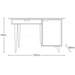 Tuam Workstation Desk - Dimensions