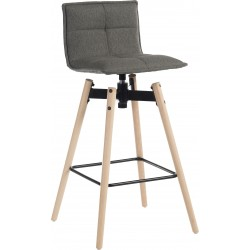 Bedford Swivel Bar Stool - Grey / Natural legs