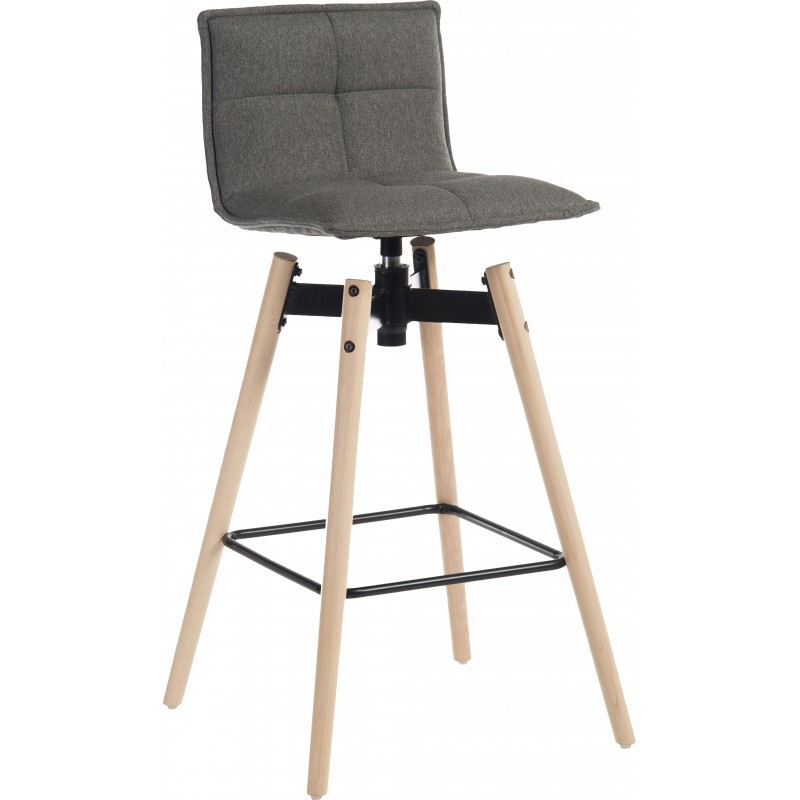 Bedford Swivel Bar Stool - Grey / Natural legs