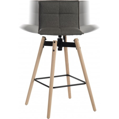 Bedford Swivel Bar Stool - Grey / Natural legs Swivel Feature