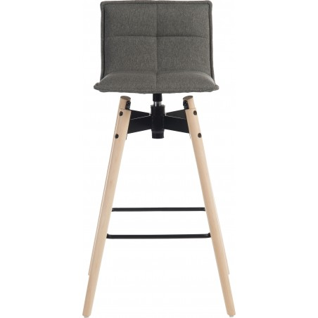 Bedford Swivel Bar Stool - Grey / Natural legs Front View