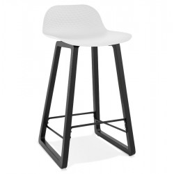Mickey Mid Height Bar Stool - White /Black Legs