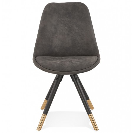 Sidona - DSW Style Chair Black & Gold Pyramid Legs Front View