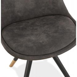 Sidona - DSW Style Chair Black & Gold Pyramid Legs  Seat Detail