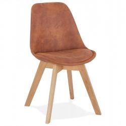 Somer Scandinavian Style Chair - Brown/ Natural Legs