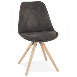 Charley - Scandi Style Chair - Grey/ Natural Legs