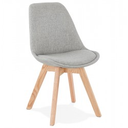 Comfia Fabric Upholstered Chair Grey/ Natural Legs