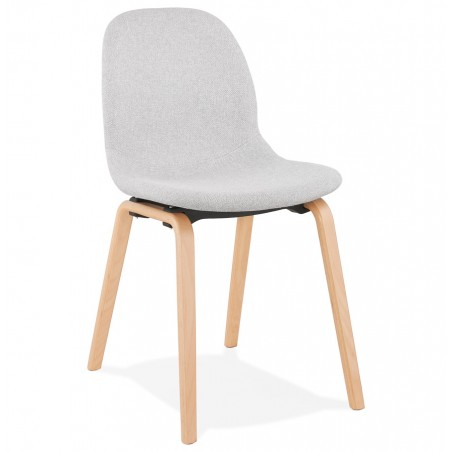Caprice Fabric Upholstered Chair - Grey / Natural Legs