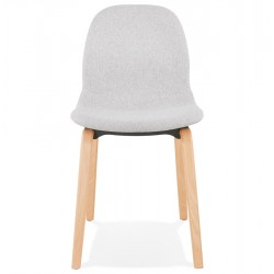 Caprice Fabric Upholstered Chair - Grey / Natural Legs Front View