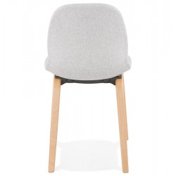 Caprice Fabric Upholstered Chair - Grey / Natural Legs Rear View