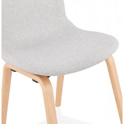 Caprice Fabric Upholstered Chair - Grey / Natural Legs Seat Detail