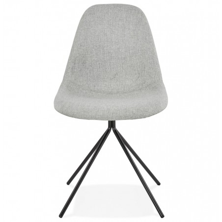 Kirk Modern Dining Chair Grey/ Black Legs Front View