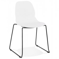Hoagie Minimalist Dining Chair - White/ Black Legs