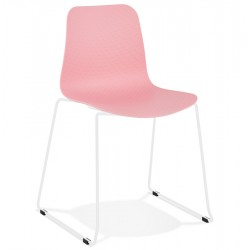 Geo Contemporary Dining Chair - Pink/ White Legs