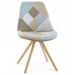 Bohomi Patchwork Fabric Chair with Pyramid Legs