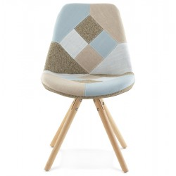 Bohomi Patchwork Fabric Chair with Pyramid Legs Front View