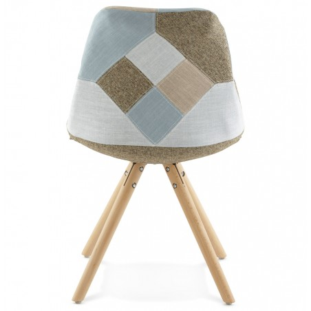 Bohomi Patchwork Fabric Chair with Pyramid Legs Rear View