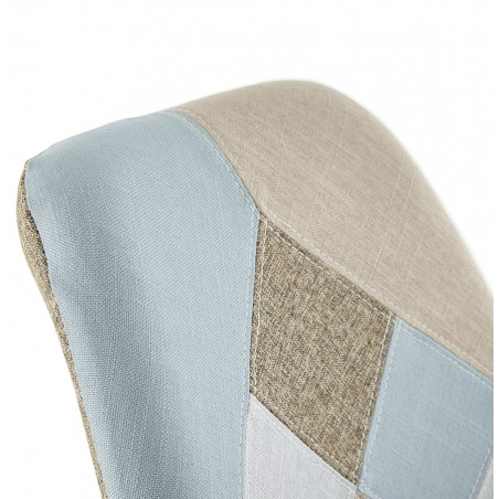 Bohomi Patchwork Fabric Chair with Pyramid Legs Back Detail