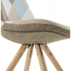 Bohomi Patchwork Fabric Chair with Pyramid Legs Side Detail