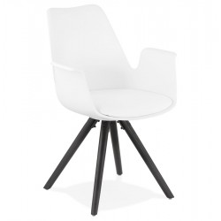 Skanna Modern Armchair with Pyramid legs White/Black Legs