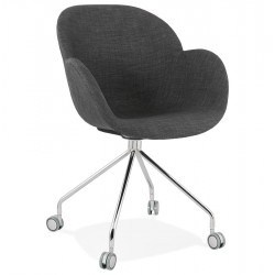 Neslie Upholstered Office Style Armchair - Dark Grey