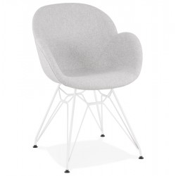 Lidia Designer Inspired Fabric Armchair Grey/White Legs