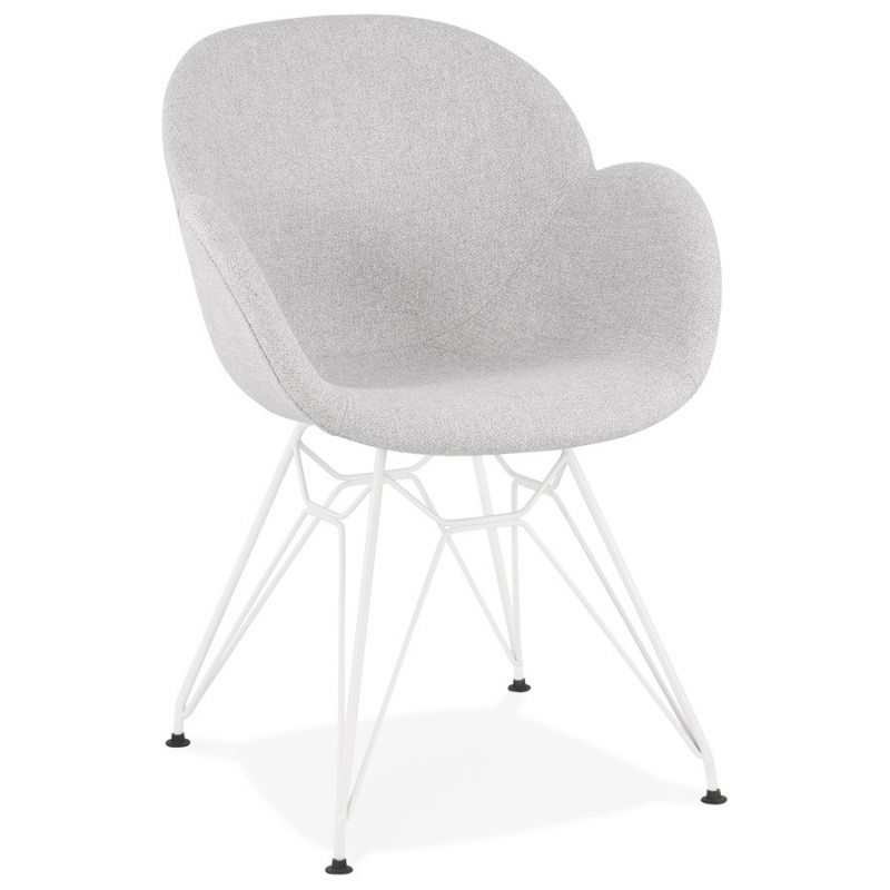 An image of Lidia Designer Inspired Fabric Armchair - Grey - White
