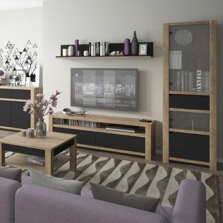 Havane 1 Door 1 Drawer Display Cabinet in Lefkas oak and black matt, room shot 1