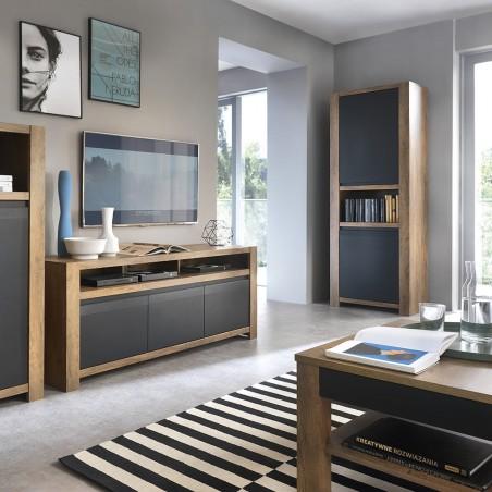 Havane 1 Door 1 Drawer Display Cabinet in Lefkas oak and black matt, room shot 2
