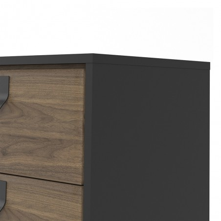 Tula 1 Door 2 Drawer Sideboard in matt black and walnut, close up drawer detail