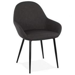 Klappa Faux Leather Armchair - Dark Grey