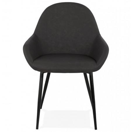Klappa Faux Leather Armchair - Dark Grey  Front View