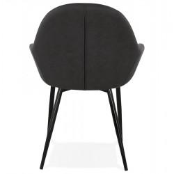 Klappa Faux Leather Armchair - Dark Grey  Rear View