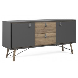 Tula Sideboard in matt black and walnut, angle view